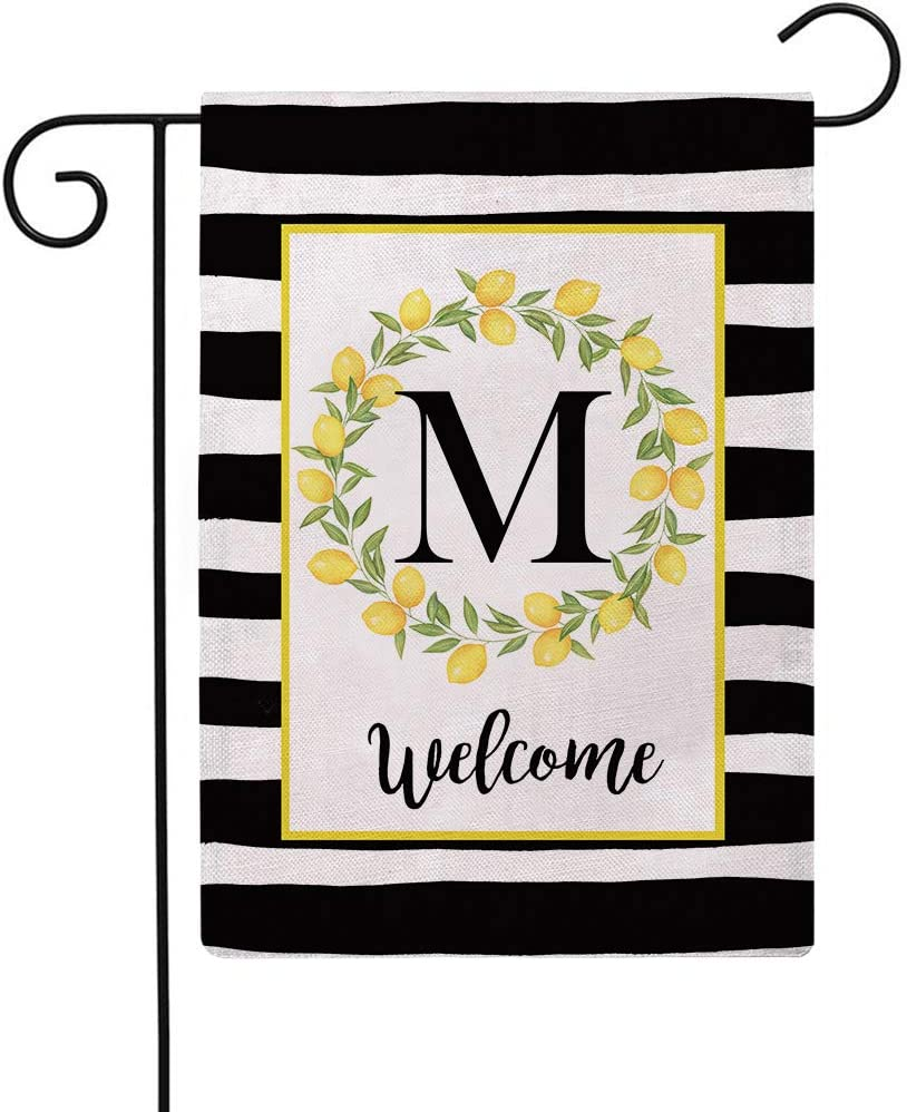 ULOVE LOVE YOURSELF Welcome Farmhouse Decorative Garden Flags with Letter M/Lemons Wreath Double Sided House Yard Patio Outdoor Garden Flags Small Garden Flag 12.5×18 Inch (M)