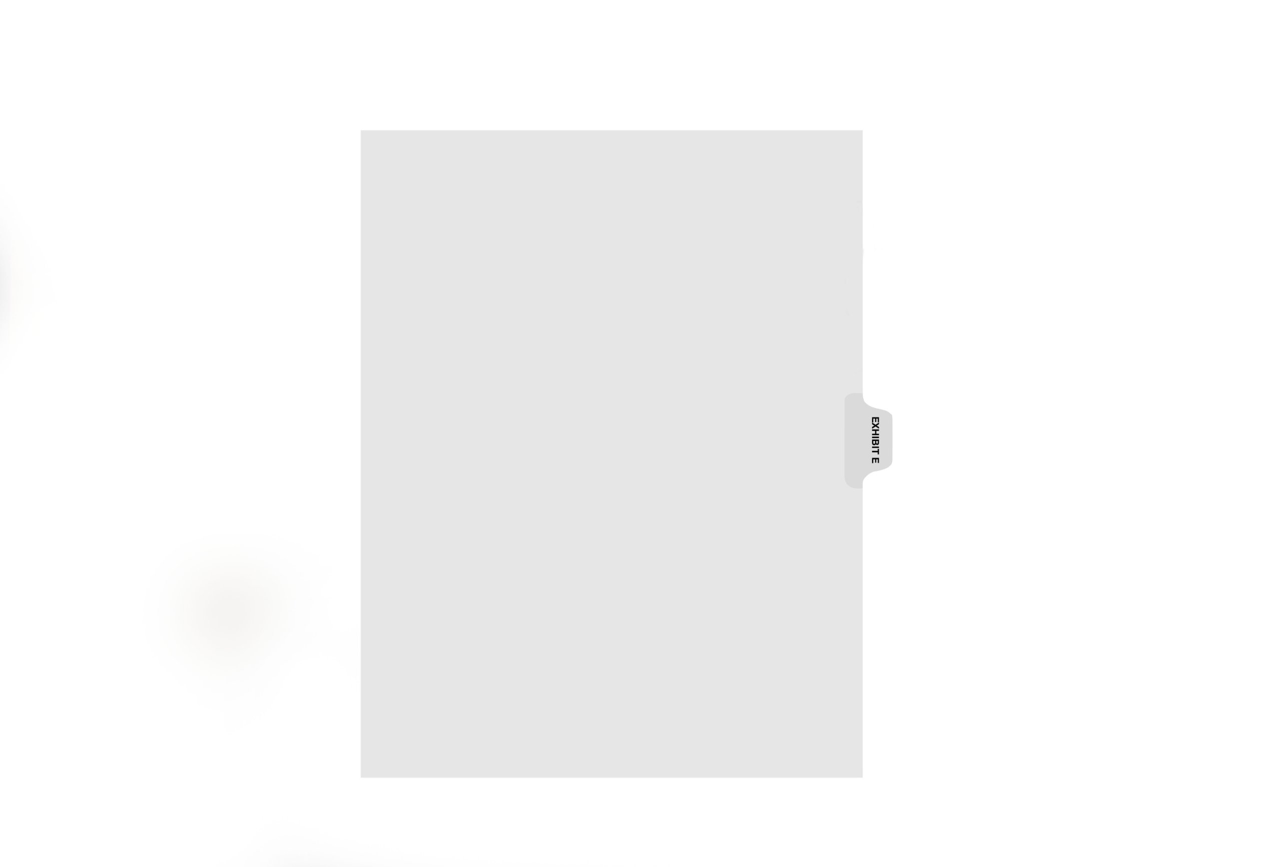 Kleer-Fax Letter-Size Individual Exhibit Letter Index Dividers, Side Tab, 1/10th Cut, 25 Sheets per Pack, White, Exhibit E (81005)