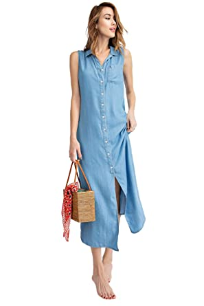 94f1ce3281123 Anna-Kaci Classic Sleeveless Blue Jean Button Down Denim Pocket Collar  Shirt Dress,Light