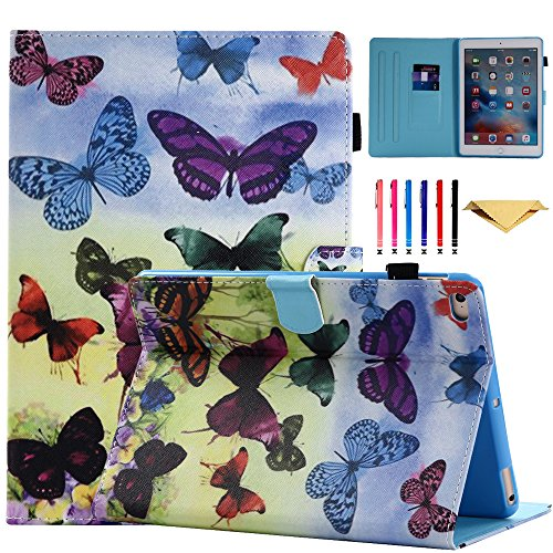 New iPad 9.7 Inch 2017 / iPad Air 2 / iPad Air Case - Monstek Auto Wake / Sleep Multi-Angle Viewing Smart Stand Wallet Protective Case Cover for iPad 9.7 Inch 2017,iPad Air 1 2,Colorful Butterflies