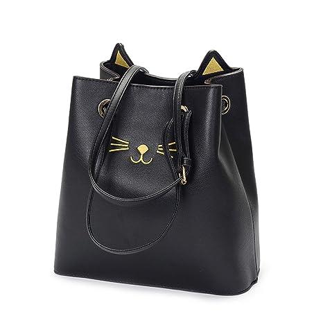 Espeedy Moda coreana señoras bolso PU cuero lindo gato Crossbody mensajero bolsas de verano mujeres ocasionales bolsa de hombro gran capacidad