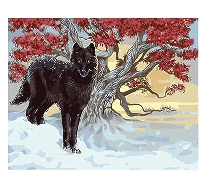 Pintura por Números Wall Art 2 White Wolves DIY Pintura Al