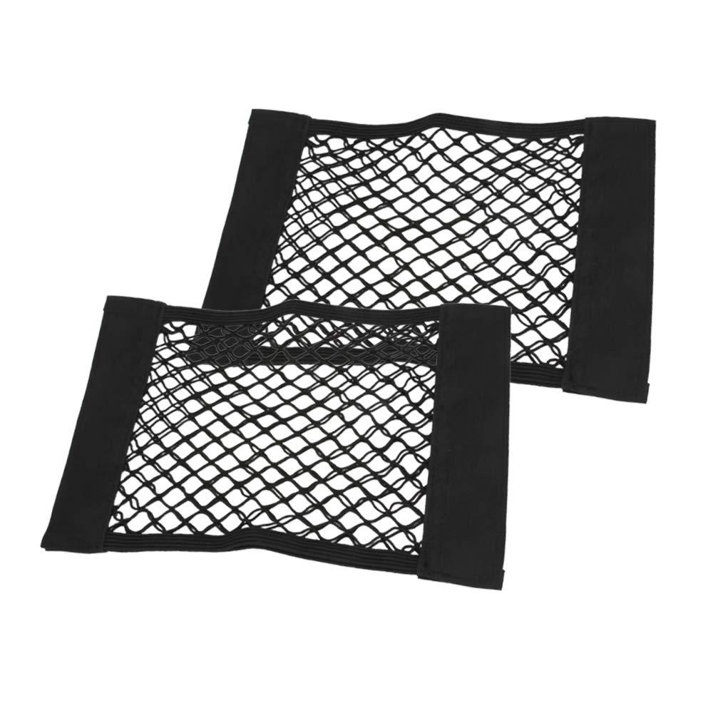 Senzeal 2X Car Rear Trunk Seat Storage Net Black Magic Sticker Mesh Net Cargo Organizer Net SZL-CA-00504