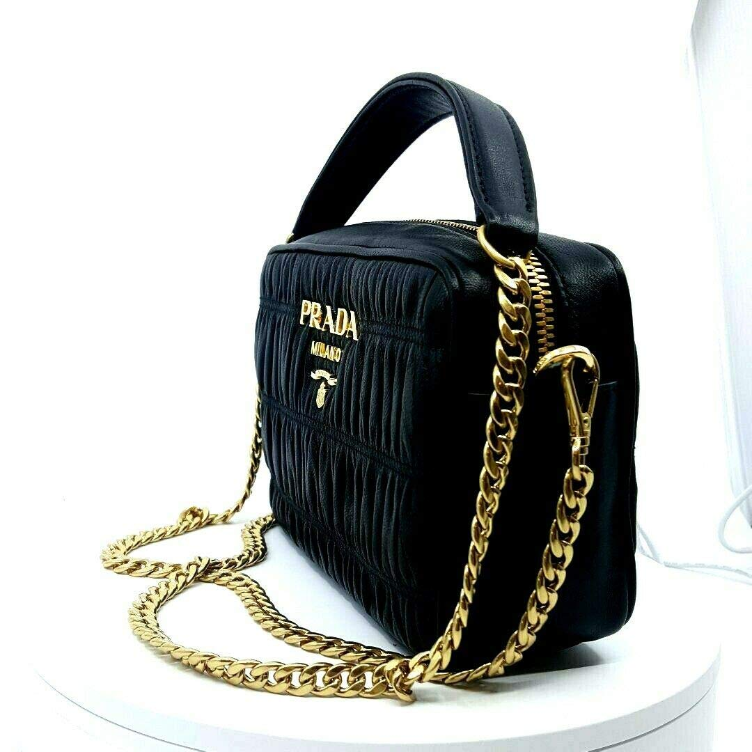 5c47a247de5c Prada Bandoliera Nero Black Nappa Gaufre 1 Quilted Leather Handbag 1BH112   Handbags  Amazon.com