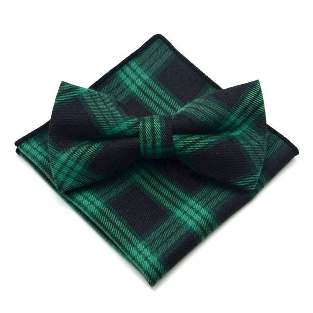 Secdtie Men's Navy Blue Green Layers Bow Tie Tuxedo Bowtie for Wedding Party 30