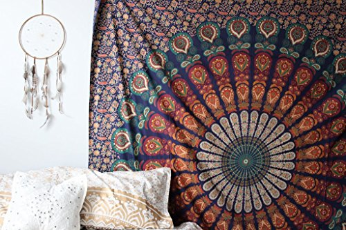 The Boho Street - Exclusive 100% Cotton Mandala Tapestry, Indian Mandala Wall Art, Hippie Wall Hanging, Bohemian Bedspread
