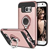 Galaxy S7 Case, Vofolen Galaxy S7 Case Ring Holder Kickstand Rotational Clip Hybrid Defender Heavy Duty Armor Dual Layer Protective Hard Shell TPU Bumper Cover for Galaxy S7 (Rose Gold)