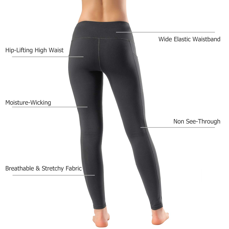 Women's High Waist Yoga Pants Side & Inner Pockets Tummy Control Workout Running 4 Way Stretch Sports Leggings by HOFI (Image #6)