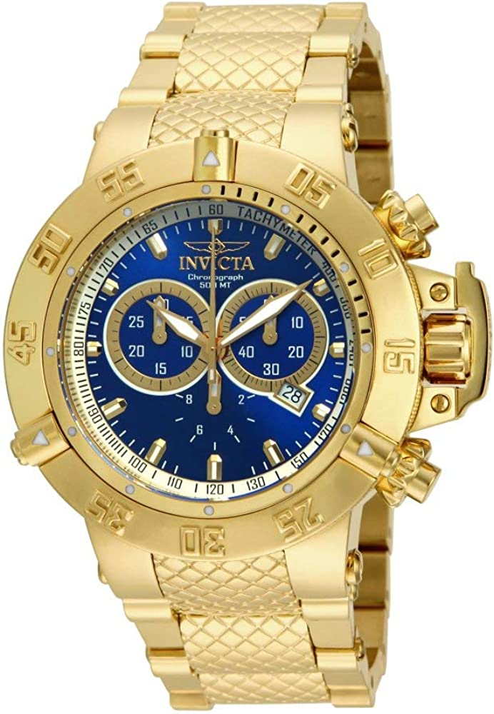 Invicta Men s 14501 Subaqua Noma III Chronograph Blue Dial 18k Gold Ion-Plated Stainless Steel Watch