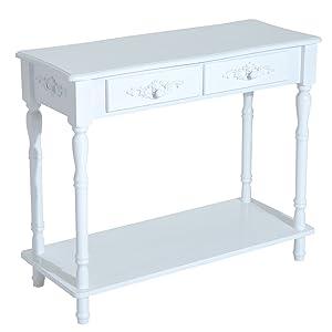 Homcom Table Console Table de drapier néo-rétro Multi-Rangement 84 x 33 x 71 cm Blanc