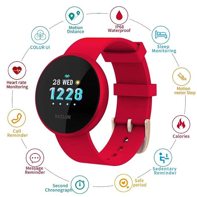 Smartwatch Mujer,Reloj de Monitor de Ritmo cardíaco con Pantalla a Color, Pantalla de Reloj con Efecto de Despertador automático IP68 Reloj ...