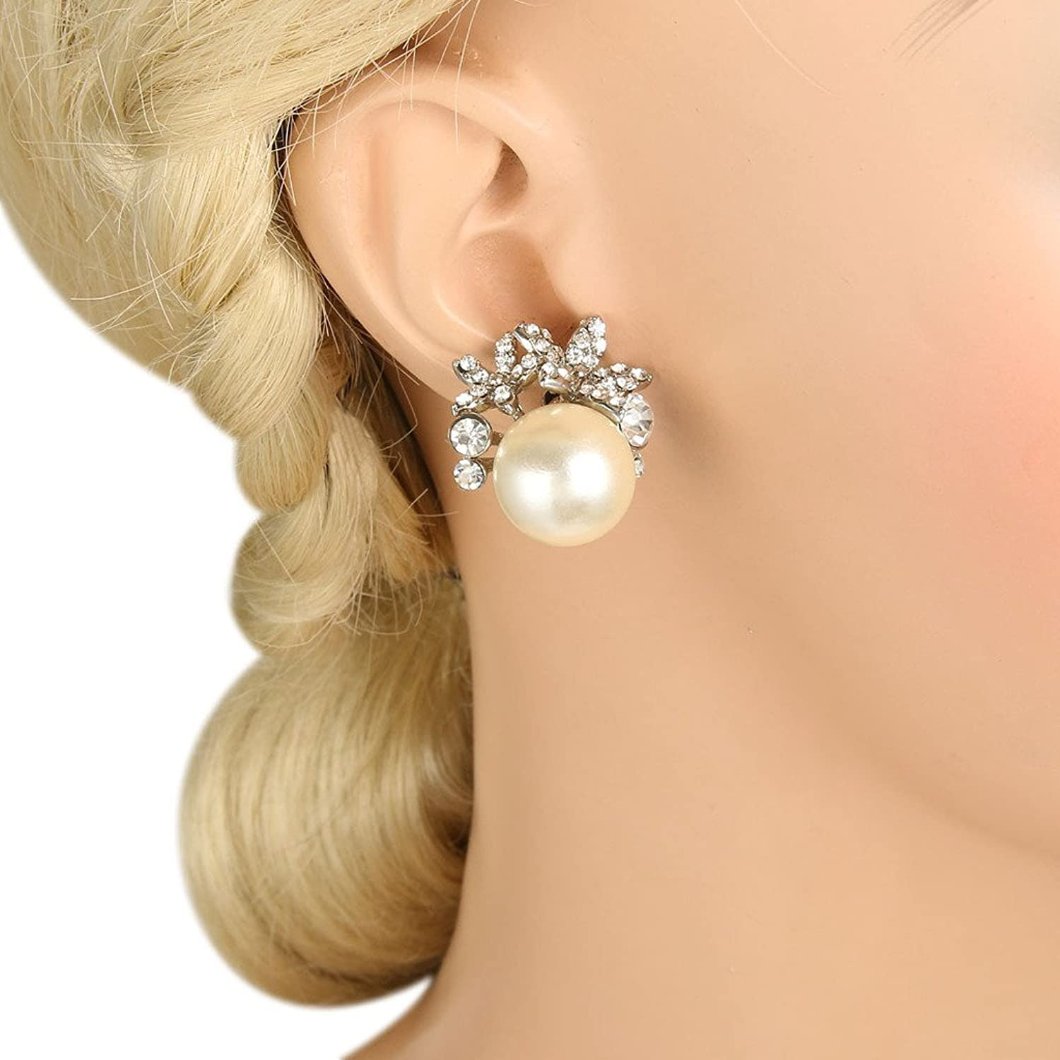 50s Jewelry: Earrings, Necklace, Brooch, Bracelet EVER FAITH Bridal Silver-Tone Flower Simulated Pearl Stud Earrings Austrian Crystal Clear $12.99 AT vintagedancer.com