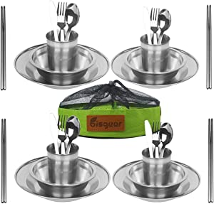 Bisgear 1-4 Person Stainless Steel Tableware Mess Kit Includes Plate Bowl Cup Spoon Fork Knife Chopsticks & Mesh Travel Bag for Backpacking & Camping