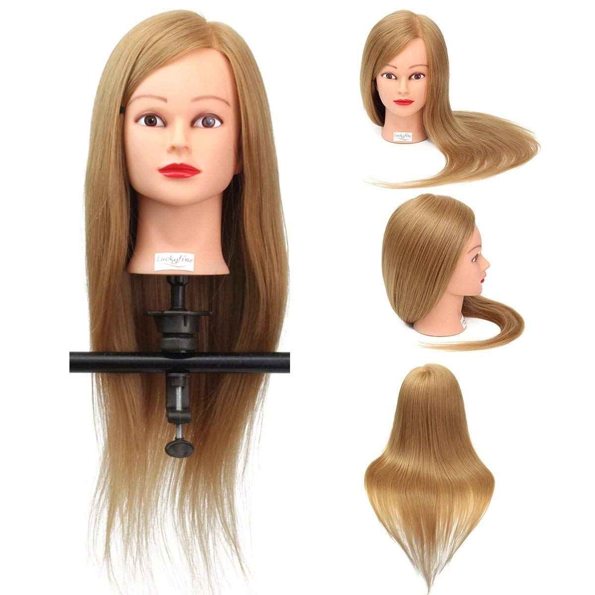 Training Head, Luckyfine 26 '' Golden Hairdressing Head 35% Real Hair + High Temperature Wire Long Hair Hairstyling Mannequin Training Head With Holder For Home and Professional Use