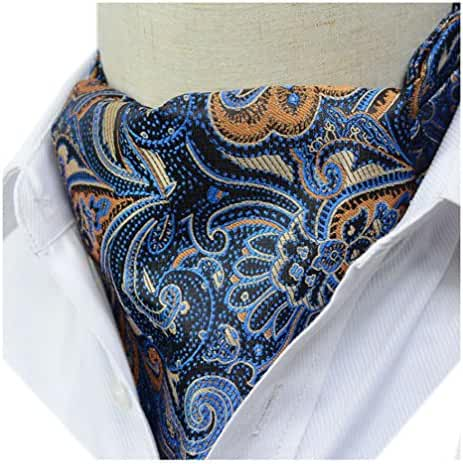 Secdtie Men's Classic Present Silk Ascot Paisley Patterned Cravat for Designer