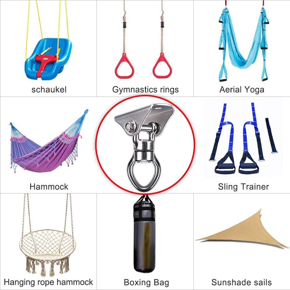 SELEWARE Silent Bearing Swing Hangers 1200LB Capacity Stainless Steel for Wooden Concrete Playground Yoga Hammock Chair Rope Punching Bag Porch Swing Sets Heavy Duty 360/° Rotate Swing Swivel Hook