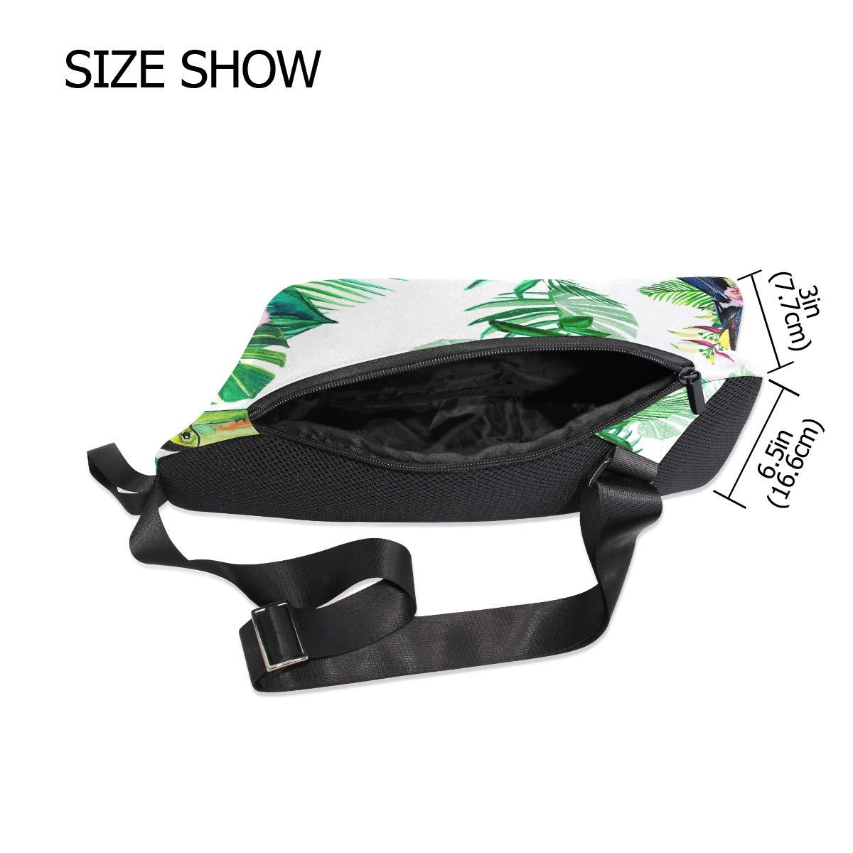 TFONE Toucan Flower Palm Leaves Crossbody Bag Lightweight Chest Shoulder Messenger Pack Backpack Sling Bag