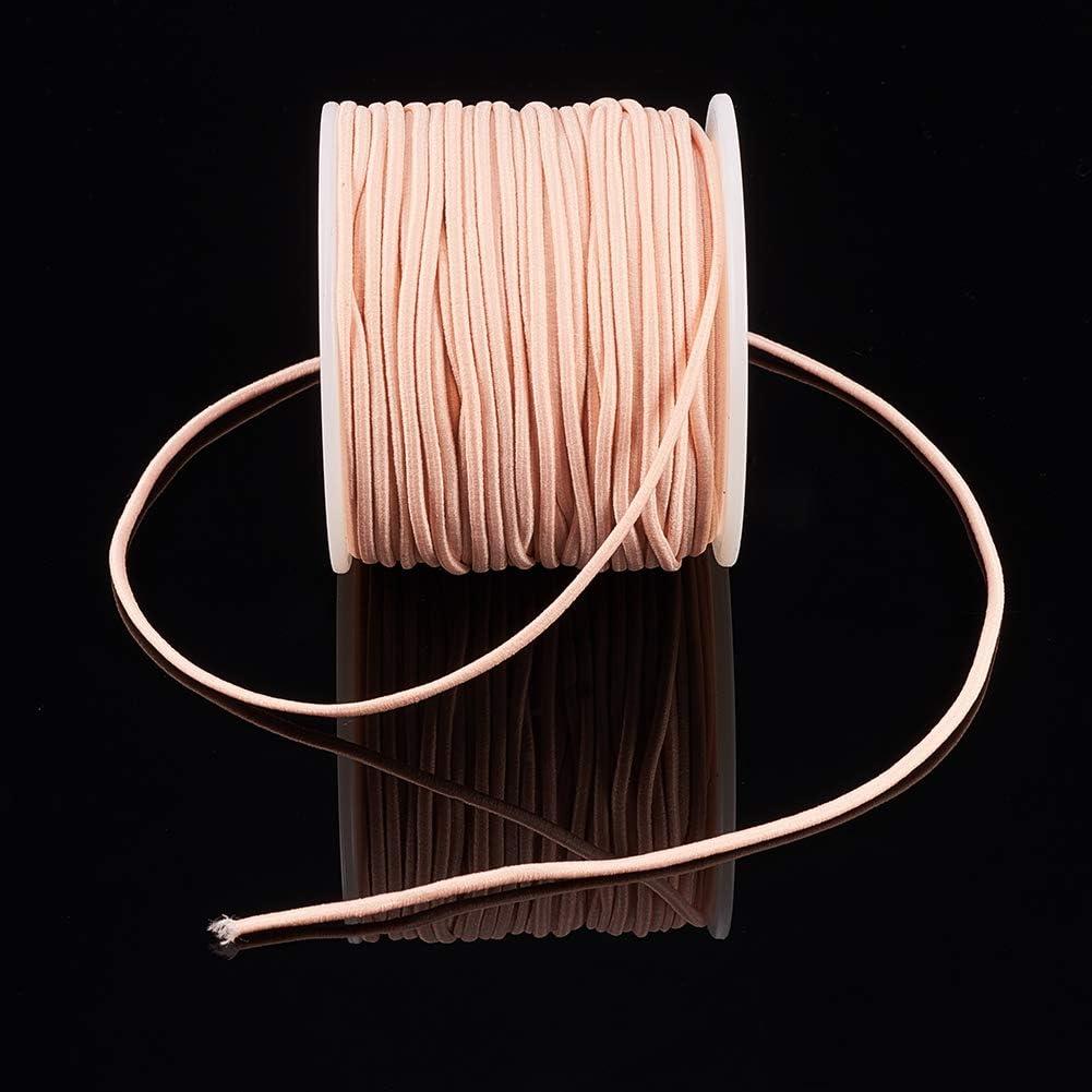 BENECREAT 50m 2mm Cord/ón El/ástico Hilo de Nylon de Rebordear Tela Hilo para Cuentas Pelo y Manualidad ChampagneYellow