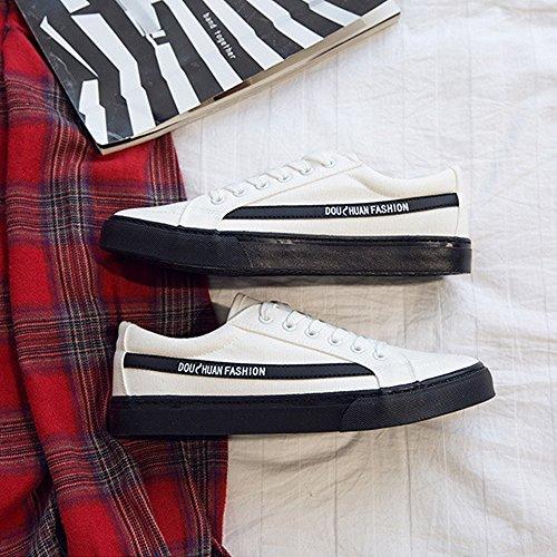 amp;Baby sportive Scarpe Up Mocassini Bianca EU Resistente con Dimensione suola da Color Sneakers bassa all'abrasione Lace in antiscivolo 42 canvas uomo piatte Nero Sunny casual Afqwx54EdA
