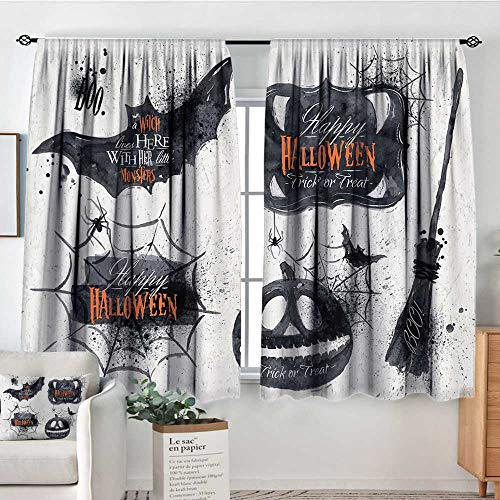 Elliot Dorothy Home Decoration Thermal Insulated Curtains Vintage Halloween,Halloween Symbols Happy Holiday Witch Lives Here Broomstick Spider Web,Black White,for Bedroom,Nursery,Living Room 52