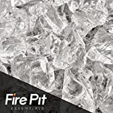 "1/2"" - 3/4"" Crushed Fire Glass for Indoor or Outdoor Fire Pit or Fireplace 10 Pounds (Crushed Ice)"