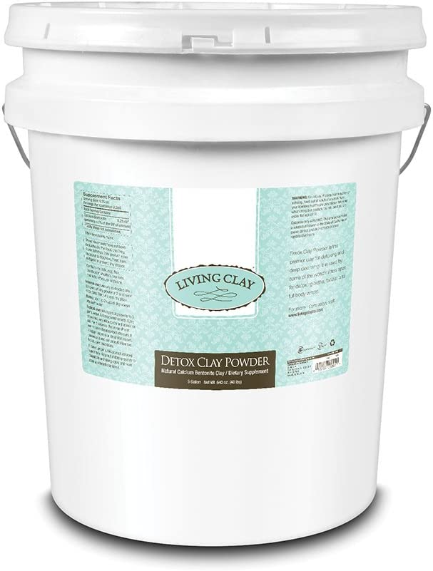 Living Clay Detox Clay Powder   All-Natural Bentonite Calcium Clay for Internal & External Deep Cleansing   Perfect for Mask, Bath or Wrap   5 Gal