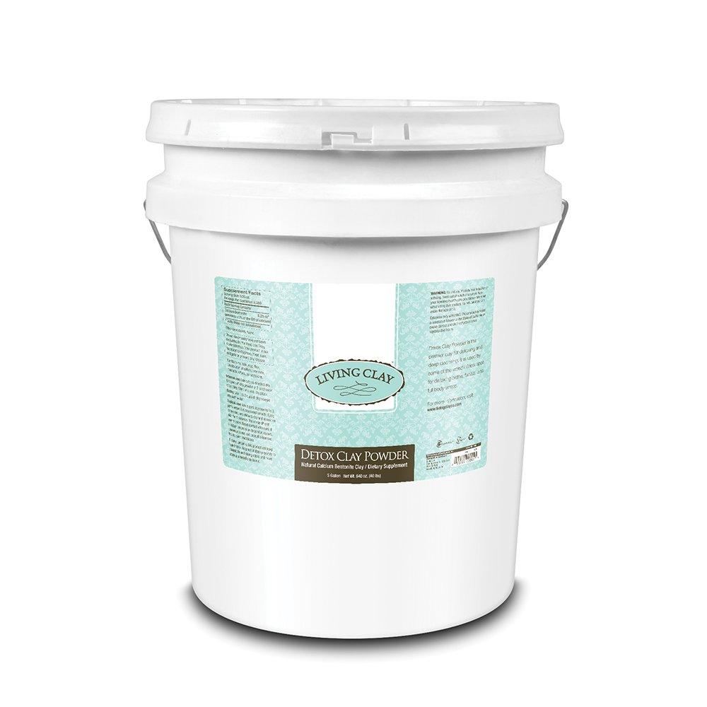 Living Clay Detox Clay Powder 5 Gallon (40lb) All Natural Calcium Bentonite Clay