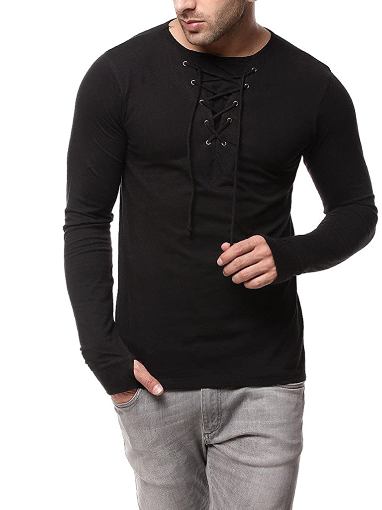 a36a26b2f84a5 GRITSTONES Black Full Sleeve Round Neck T Shirt GSFSTSHT1282BLK  Amazon.in   Clothing   Accessories