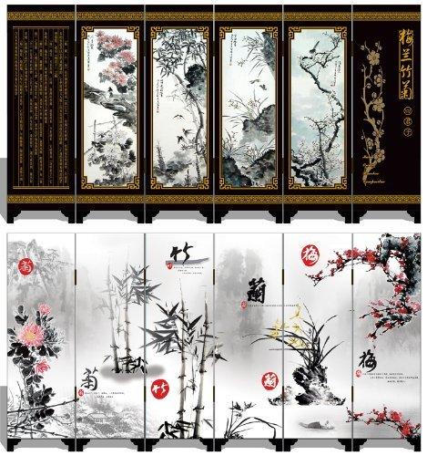 - 韵美 Lacquer Antique Style Miniature Chinese Panel Screen 漆器仿古小屏风 with Four Seasons 梅兰竹菊 Theme - screen size: 18.37