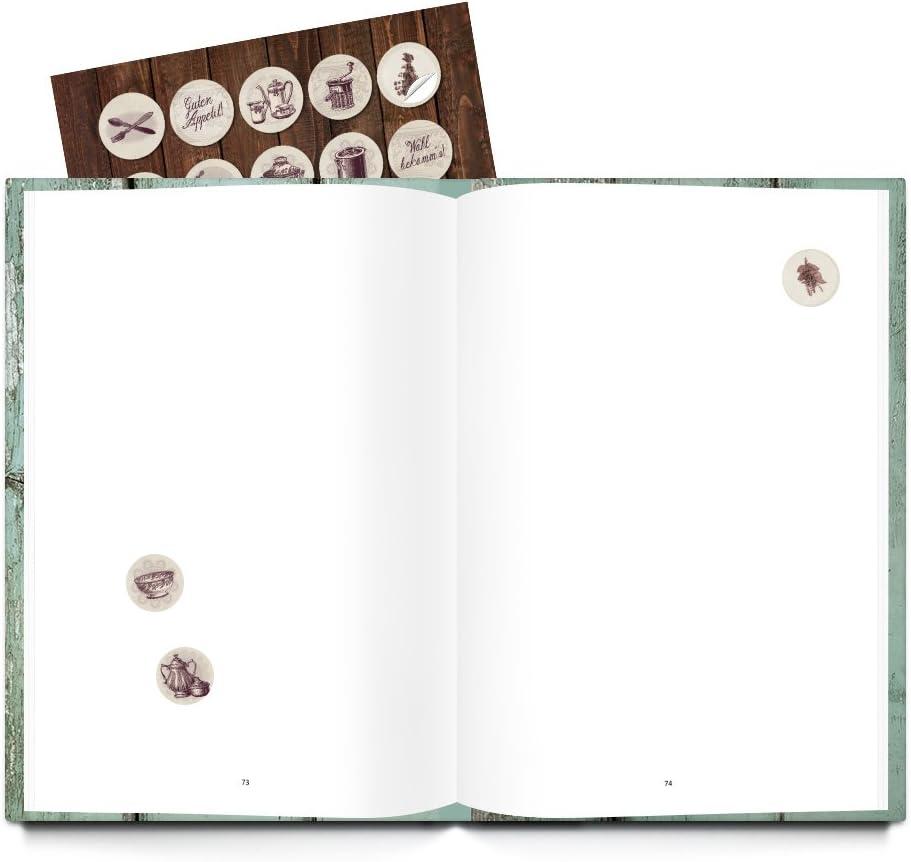 Libro de recetas XXL para escribir tus recetas en alemán, DIN A4 + 35 pegatinas nostálgicas de cocina, tapa dura, libro para escribir: Amazon.es: Oficina y papelería