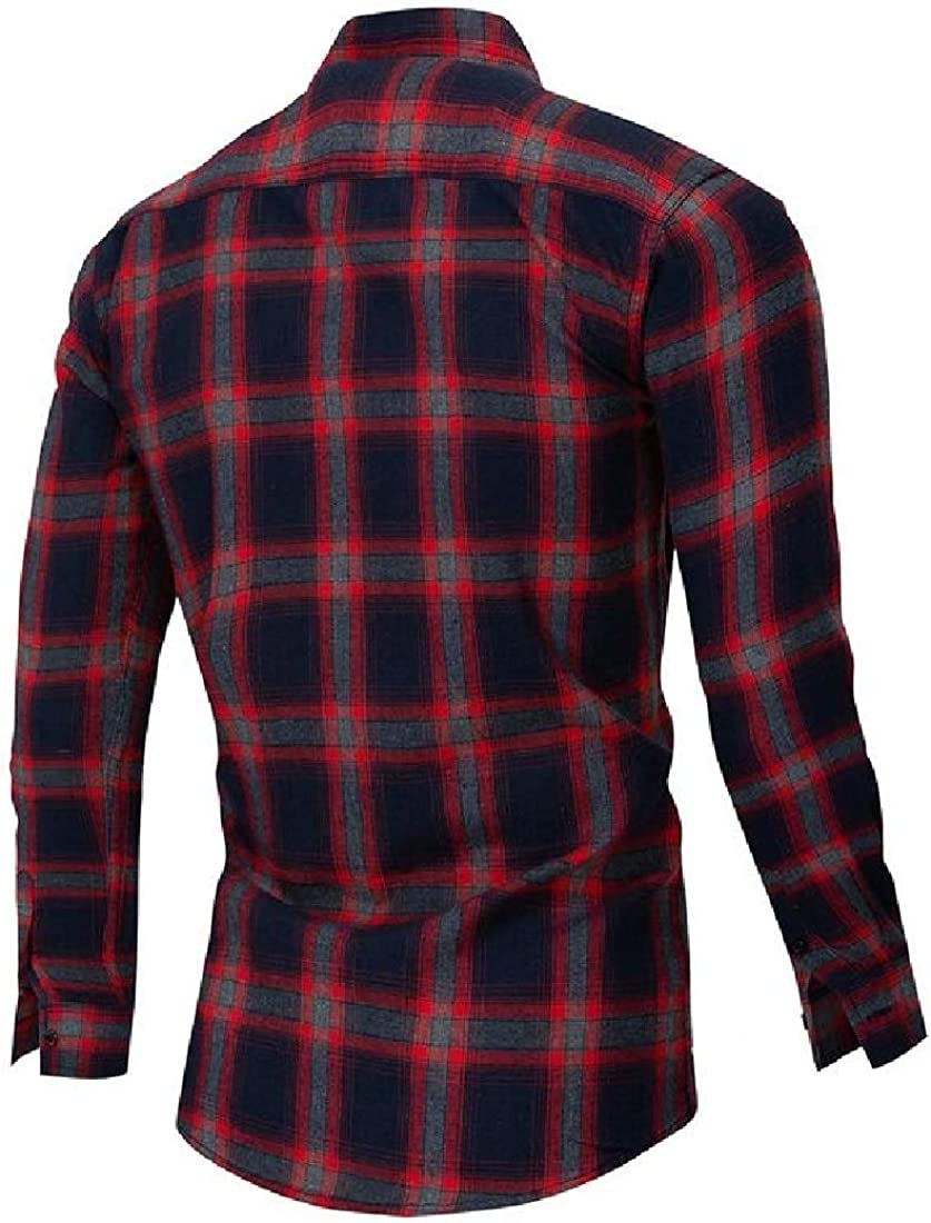 Fubotevic Men Casual Plaid Business Long Sleeve Slim Button Up Dress Work Shirt