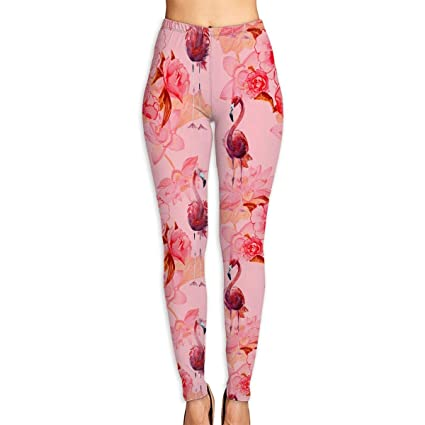 0672a12cc4d10e NO2XG Pink Flamingos and Flowers Pattern High Waist Yoga Pants Tummy  Control Pilates Leggings Women's Stretch