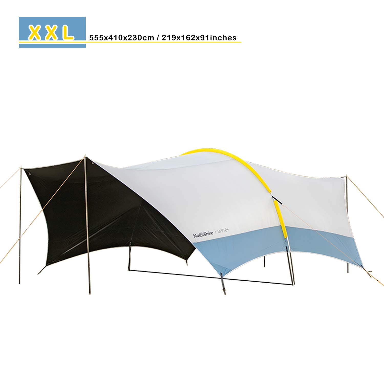 Topnaca Lightweight Camping Tarp Shelter Beach Tent Sun Shade Canopy with Tarp Poles, Portable Waterproof Sun-Proof 219x162x91in for Family Day Fishing Picnic Beach Festivals (Grey/Upgraded) by Topnaca
