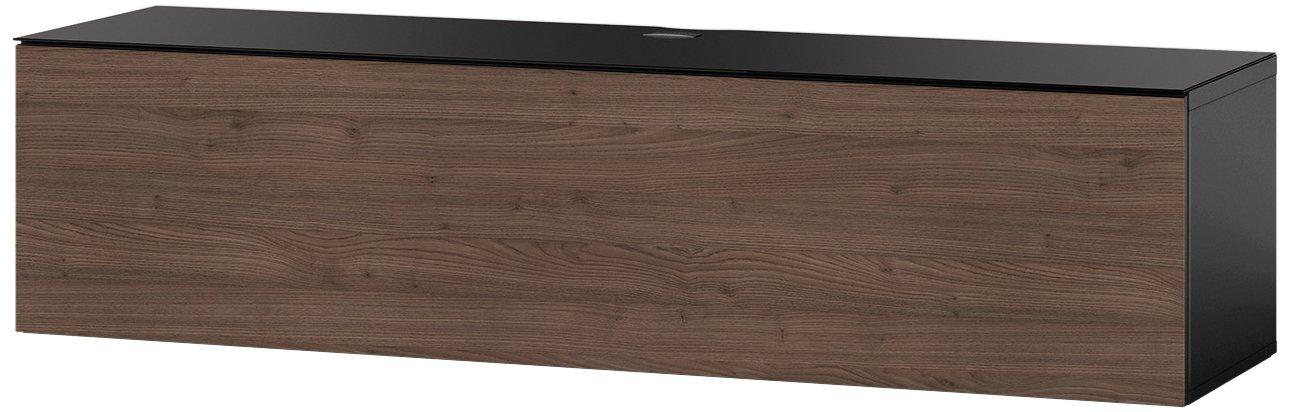 Sonorous STA 160F-BLK-TOR-WL hängende TV-Lowboard mit schwarzer Korpus, obere Fläche, gehärtetem Schwarzglas und Klapptür in Holzdekor Tortona, ohne Sockel