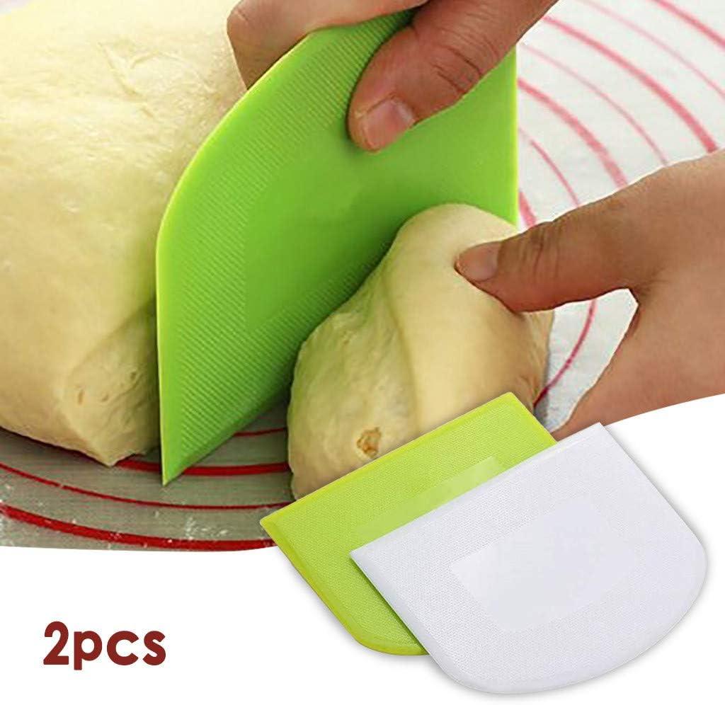 2 Pieces Dough Scraper Bowl Scraper Food-safe Plastic Dough Cutter USVSU Flexible Practical Bench Scraper Multipurpose Scrappers for Bread Dough Cake Fondant Icing, White, Green Gift for Mom