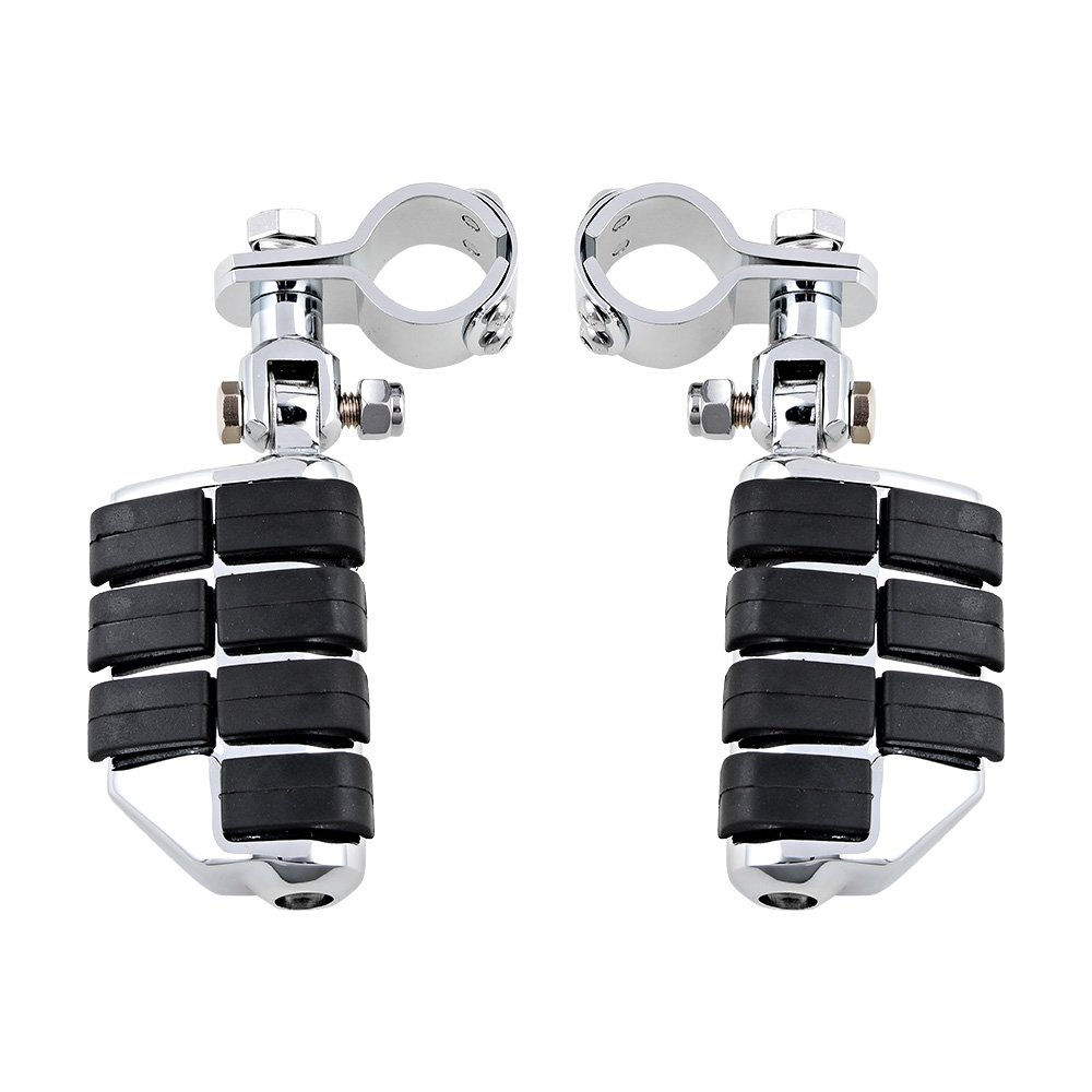 1.25'' Highway Foot Pegs Footrest For Harley Electra Road King Street Glide Softail Dyna Sportster 1-1/4'' Engine Guard Bar (Short Mount Footpegs, Chrome and Black)