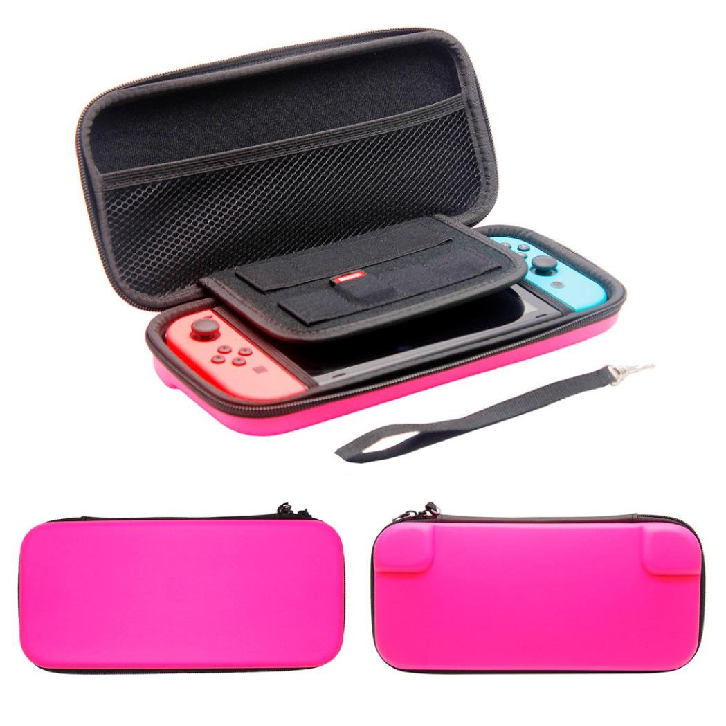 For Nintendo Switch Console,Tuscom Plain Black EVA Tough Case Pouch Travel Carry Bag (Hot Pink)