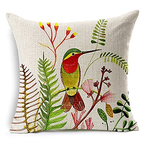 heartybay®Pillow Covers for throw pillows Hummingbird Hand Painted Floral Pattern Bird 18