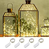 LeMorcy LED Starry String Lights, 4-Pack 6.6ft 20 Micro Starry LED Silvery Copper Wire lights With 8PCS CR2032 Batteries For Gardens, Lawn, Patio, Parties, Wedding Centerpiece, Table Decoration (Warm White)