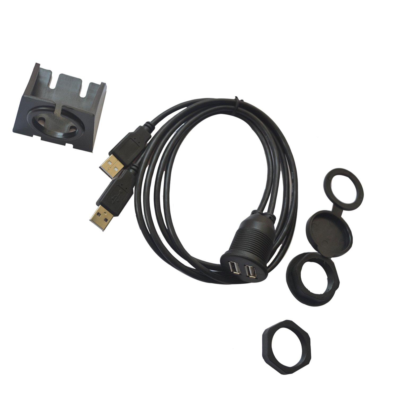1 m Auto USB empotrable Dual Cable alargador USB Macho a ...
