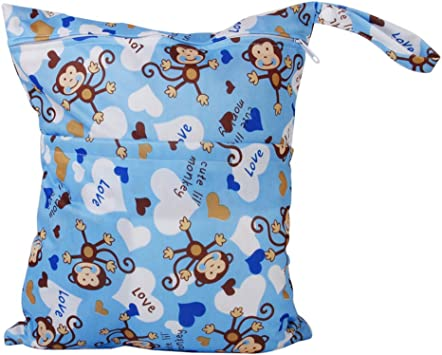 2-Zip Washable Baby Cloth Diaper Nappy Bag Monkey Heart Blue