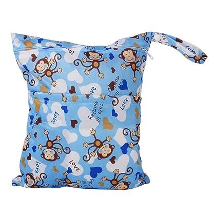 MagiDeal Linda Bebé Bolsa Impermeable de Tela Reutilizable Bolso de Pañales Monos Pintados - Azul