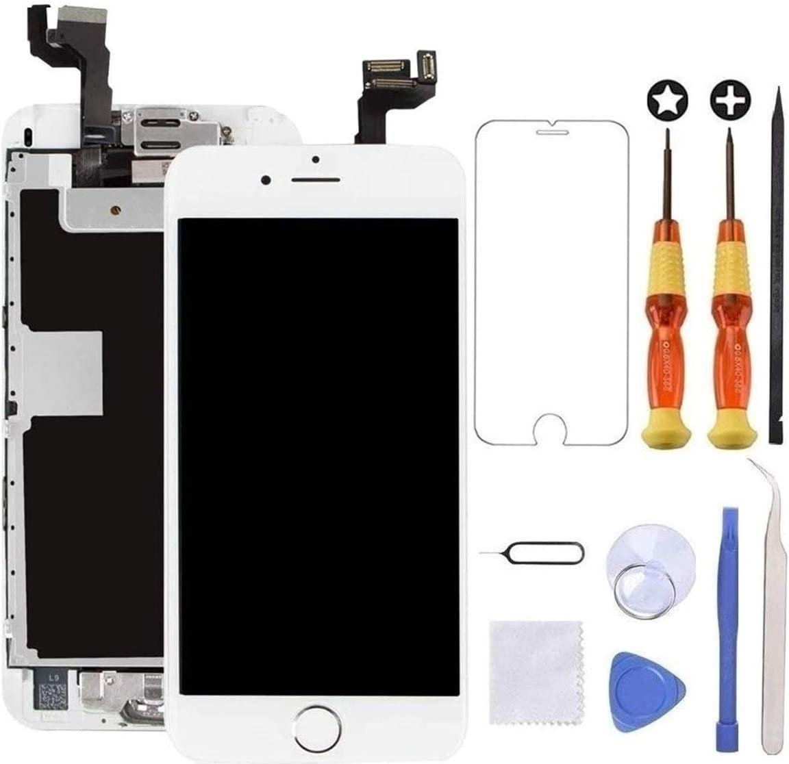 Brinonac for iPhone 6s Screen Replacement White Touch Display LCD Digitizer Full Assembly with Front Camera,Proximity Sensor,Ear Speaker and Home Button Including Repair Tool and Screen Protector