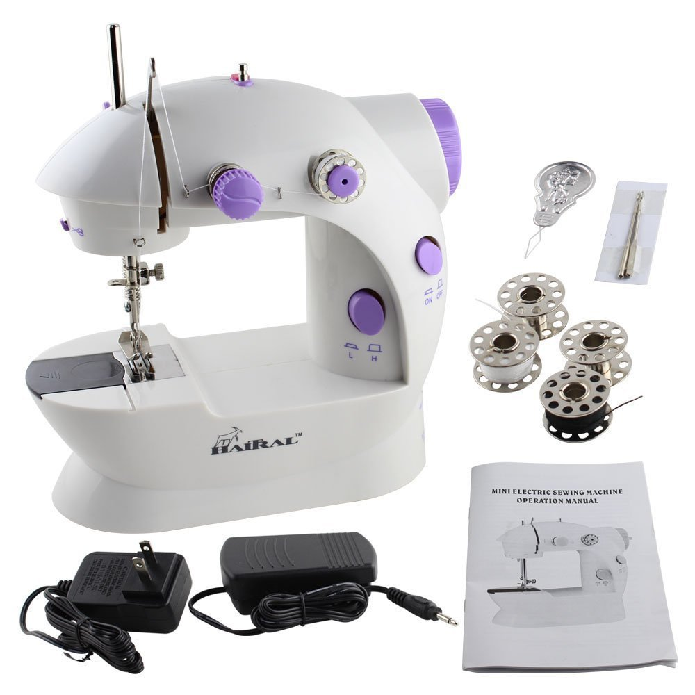 HAITRAL Sewing Machine Mini 2-Speed Double Thread, Double Speed, Portable Sewing Machine With Light and Cutter,White /Purple 4336993392