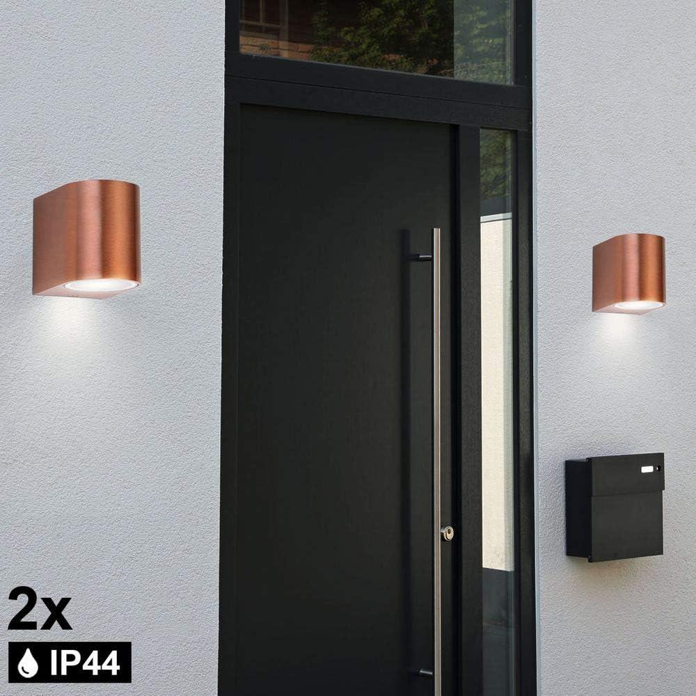 3x Außen Wand UP DOWN Spot Lampe Strahler Leuchte Beleuchtung Kupfer ALU Garten