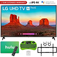 LG 65UK6300PUE 65-Class 4K HDR Smart LED AI UHD TV w/ThinQ (2018 Model) + Free Hulu $25 Gift Card + 1 Year Extended Warranty + Flat Wall Mount Kit Ultimate Bundle + More