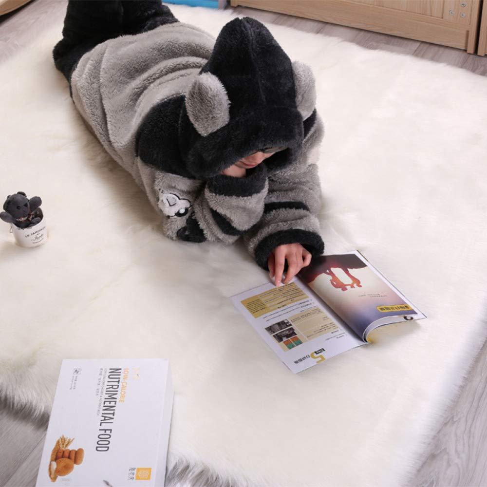 HEXU Faux Schaffell Teppich Nachahmung Wolle Lammfell Teppich Shaggy Longhair Wohnzimmer Schlafzimmer Kinderzimmer Teppich,Weiß-120x200cm 3.9x6.5ft