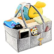 Locisne Foldable Baby Diaper Caddy Nursery Wipes tote Organizer Portable Storage Caddy for Diapers With Changeable Compartments, Bottles and Toys (Gray)