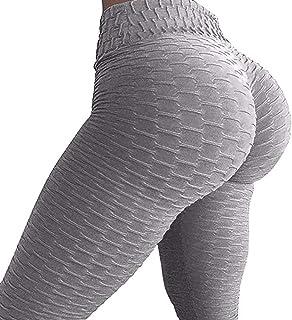 Tomorrow Sun Shine Nido de Abeja de Las Mujeres Fruncido a Tope Levantamiento de Cintura Alta Pantalones de Yoga Chic Deportes Leggings elásticos,Gray,M