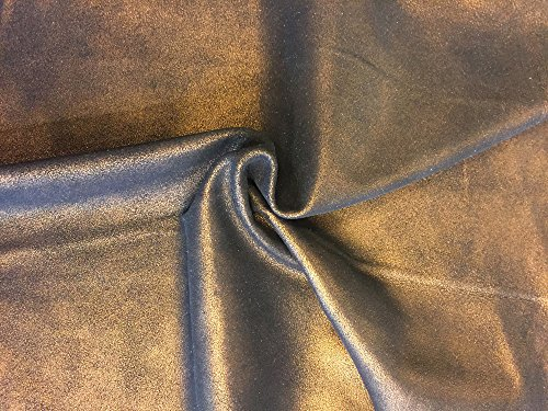 Metallic Leather Calfskin (Copper Leather Hide - Metallic Soft Calfskin - Quality Spanish Full Skins - 5 sq ft - 2 oz. avg Thickness - Upholstery Fabric - Home Décor Material - Craft DIY Projects - Wholesale Supply)